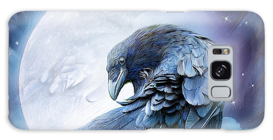 Raven Galaxy S8 Case featuring the mixed media Raven Moon by Carol Cavalaris