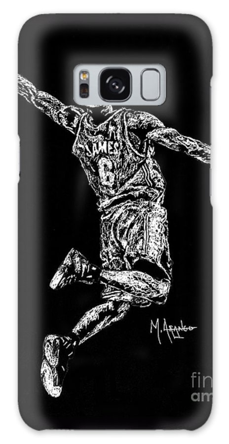 Lebron Galaxy S8 Case featuring the drawing Reaching For Greatness #6 by Maria Arango