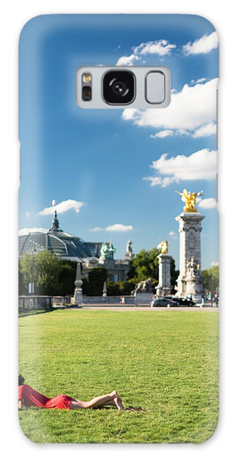 Paris Woman Red Grass Dress Grand Palais Sky Blue Reading Lying Green Clouds Galaxy S8 Case featuring the photograph Reading In Paris by Pedro Nunez
