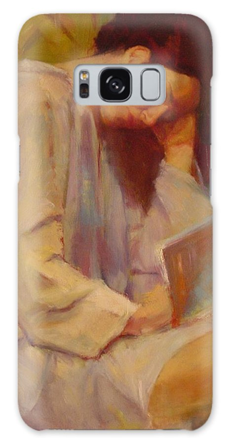 Figure Galaxy S8 Case featuring the painting Reading In The Blue Robe by Irena Jablonski