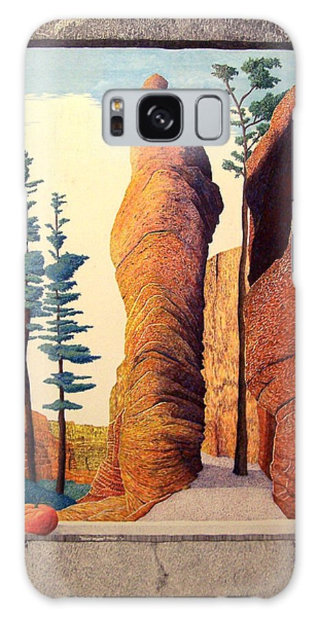 Landscape Galaxy S8 Case featuring the painting Reared Window by A Robert Malcom