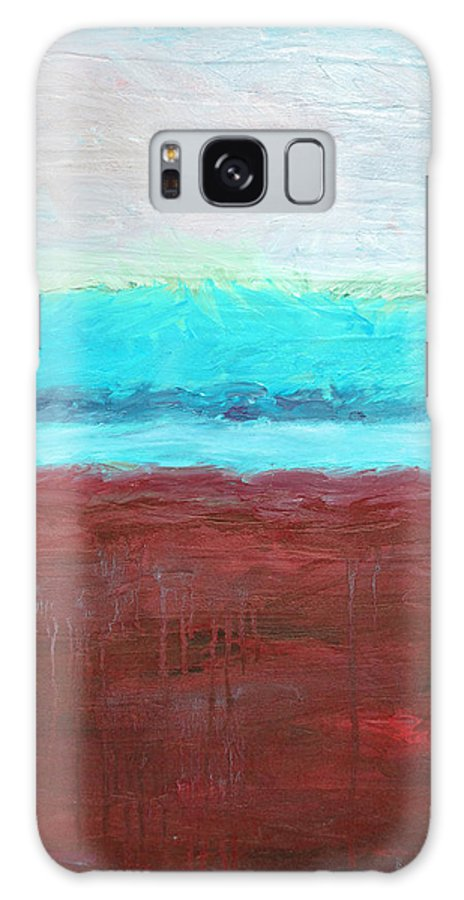 Abstract Galaxy S8 Case featuring the painting Red And Aqua Get Married by Michelle Calkins