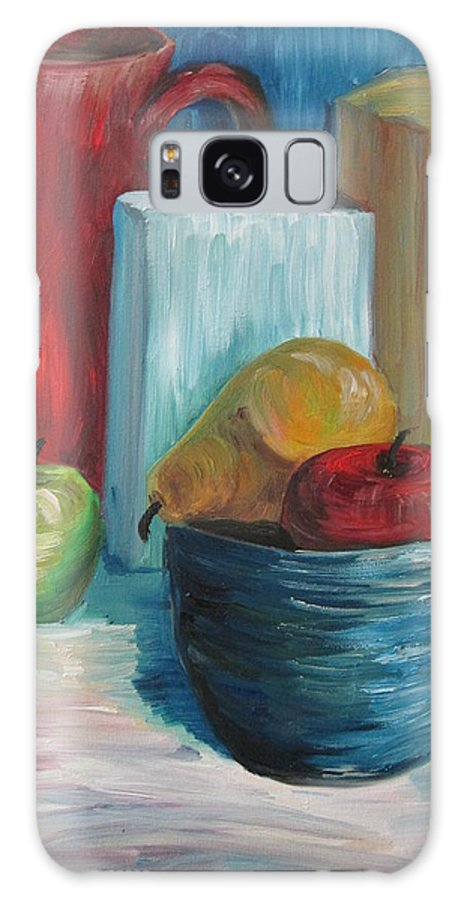 Still Life Galaxy S8 Case featuring the painting Red And Blue Still Life 2013 by Maria Melenchuk
