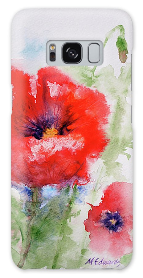 Red Galaxy S8 Case featuring the painting Red Anemones by Marna Edwards Flavell
