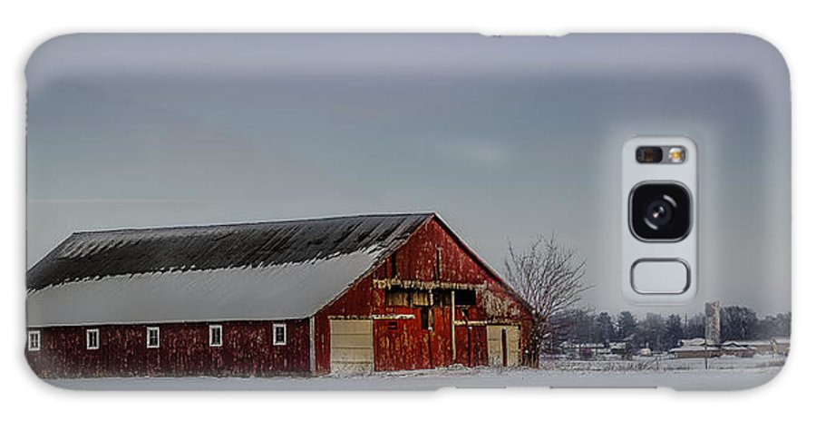 Snow Galaxy S8 Case featuring the photograph Red Barn by Daniel Cline
