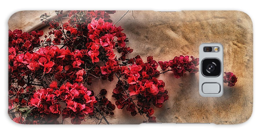 Flower Galaxy S8 Case featuring the photograph Red Bougainvilla Vine On Stucco Wall by Clare VanderVeen