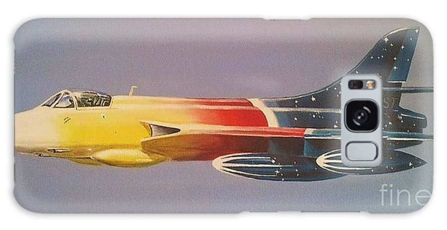 Warbird Galaxy S8 Case featuring the painting Red Bull Hawker Hunter Miss Demeanour by Richard John Holden RA