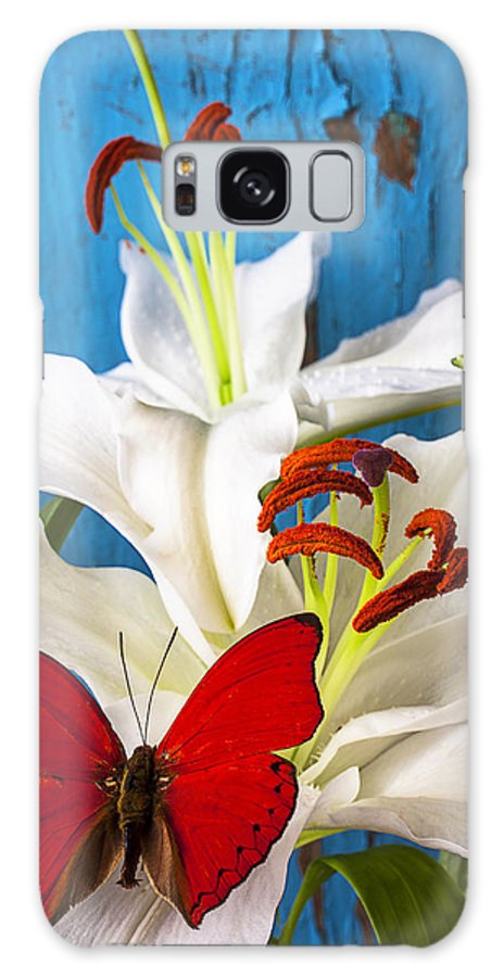 Red Butterfly Galaxy S8 Case featuring the photograph Red Butterfly On White Tiger Lily by Garry Gay