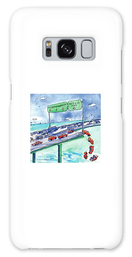 Red Sox Galaxy S8 Case featuring the drawing Red Cars Drop Off A Bridge Under A Sign That Says by Michael Crawford