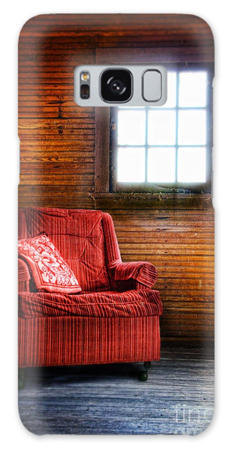 Chair By The Window Galaxy S8 Case featuring the photograph Red Chair In Panelled Room by Jill Battaglia