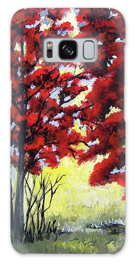 Trees Galaxy S8 Case featuring the painting Red Forest by Suzanne Theis