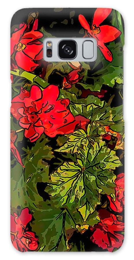 Steve Harrington Galaxy S8 Case featuring the photograph Red Geranium Line Art by Steve Harrington