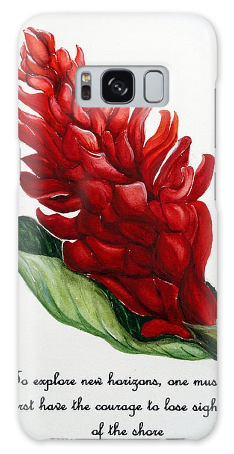 Tropical Red Ginger Lily Galaxy S8 Case featuring the painting Red Ginger Poem by Karin Dawn Kelshall- Best