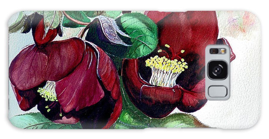 Red Helleborous Painting Flower Painting  Botanical Painting Watercolor Painting Original Painting Floral Painting Flower Painting Red Painting  Greeting Painting Galaxy S8 Case featuring the painting Red Helleborous by Karin Dawn Kelshall- Best