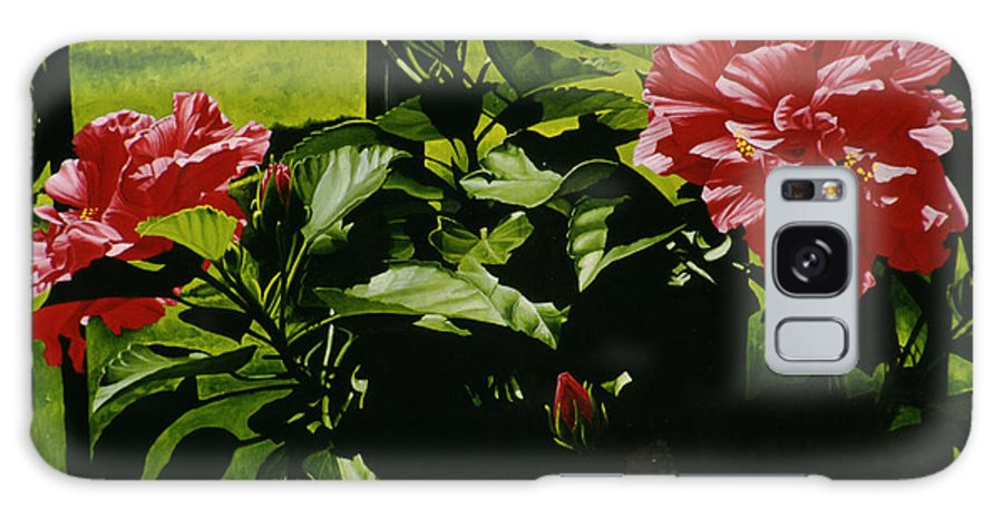 Floral Galaxy Case featuring the painting Red Hibiscus by Gary Hernandez
