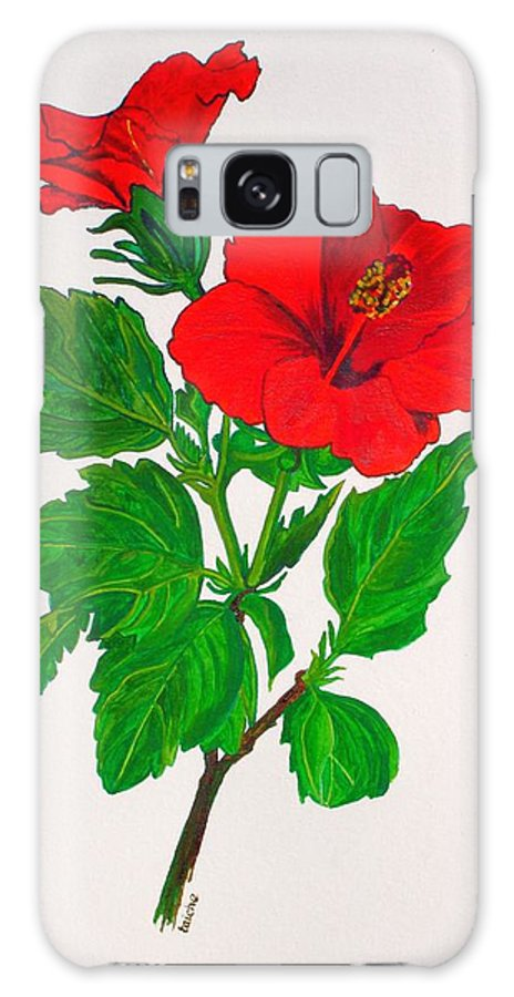 .chinese Hibiscus Galaxy S8 Case featuring the painting Red Hibiscus by Taiche Acrylic Art