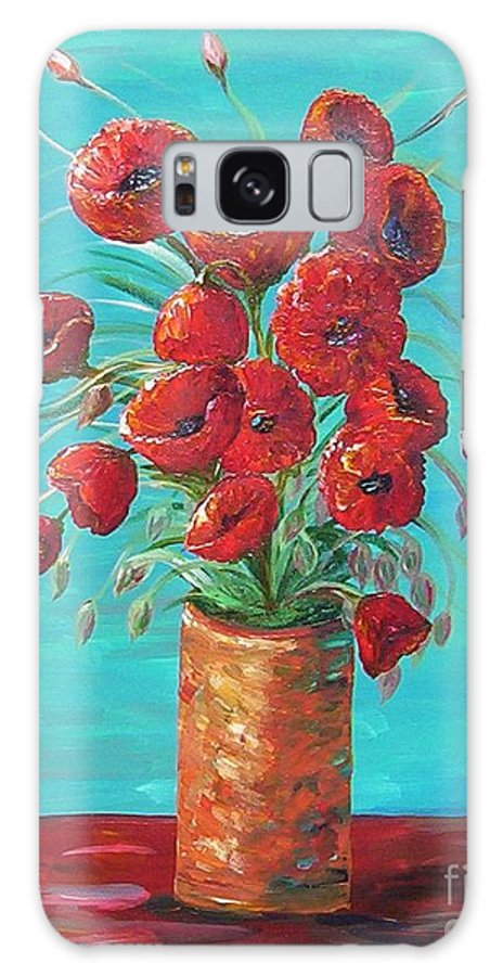 Poppy Galaxy S8 Case featuring the painting Red On My Table by Eloise Schneider Mote