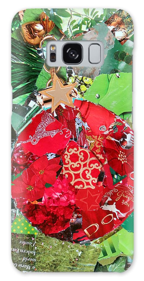 Torn Paper Collage Galaxy S8 Case featuring the painting Red Ornament by Suzy Pal Powell