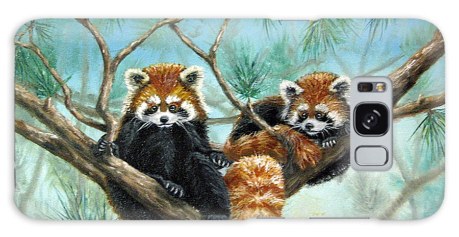 The Other Panda Galaxy S8 Case featuring the painting Red Pandas by Beverly Fuqua