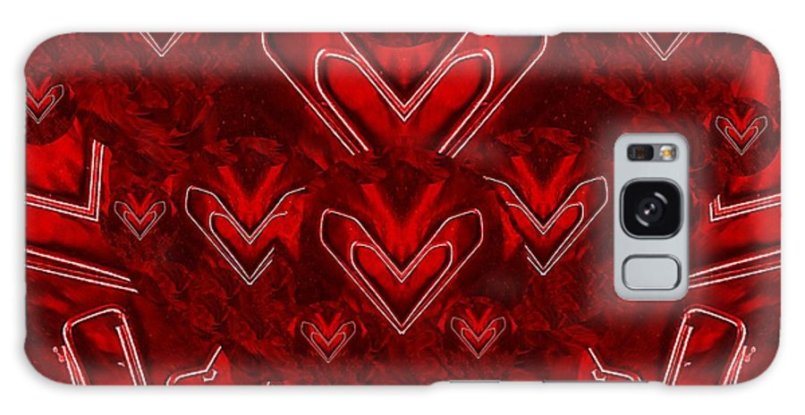 Hearts Galaxy S8 Case featuring the mixed media Red Pop Art Hearts by Pepita Selles