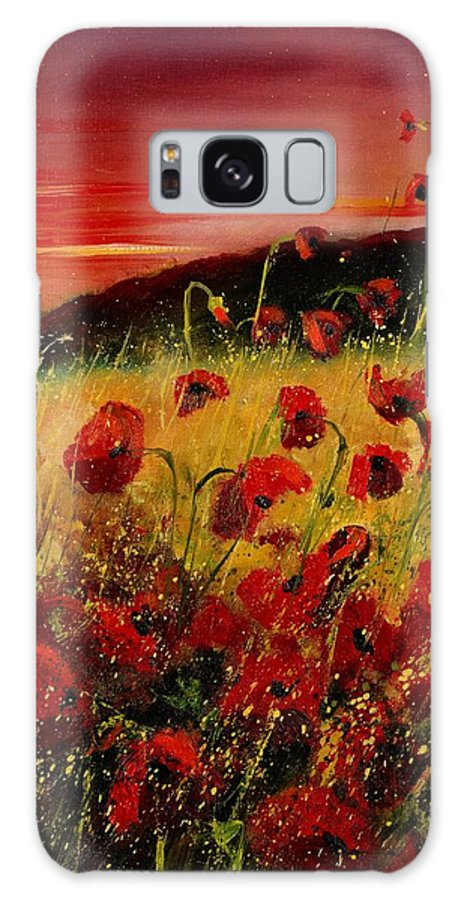 Poppies Galaxy Case featuring the painting Red Poppies And Sunset by Pol Ledent