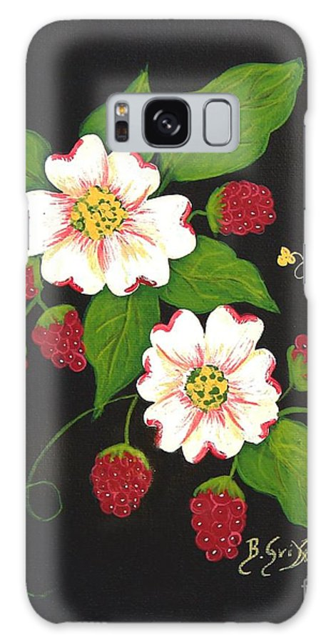 Barbara Griffin Galaxy S8 Case featuring the painting Red Raspberries And Dogwood Flowers by Barbara Griffin