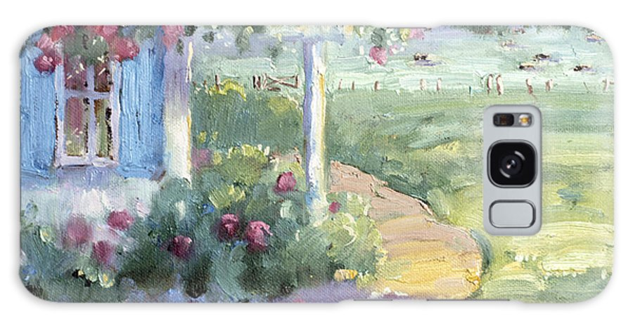 Impressionist Galaxy Case featuring the painting Red Roses Over Blue Shutters by Joyce Hicks