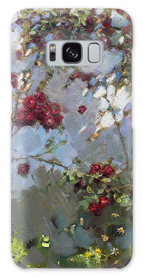 Red Roses Galaxy S8 Case featuring the painting Red Roses by Ylli Haruni