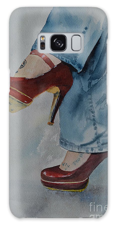 Shoes Galaxy S8 Case featuring the painting Red Shoes by Betty Mulligan