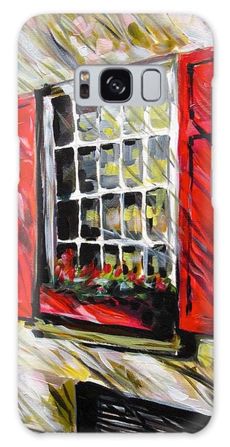 Window Art Galaxy S8 Case featuring the painting Red Shutters by Alan Metzger