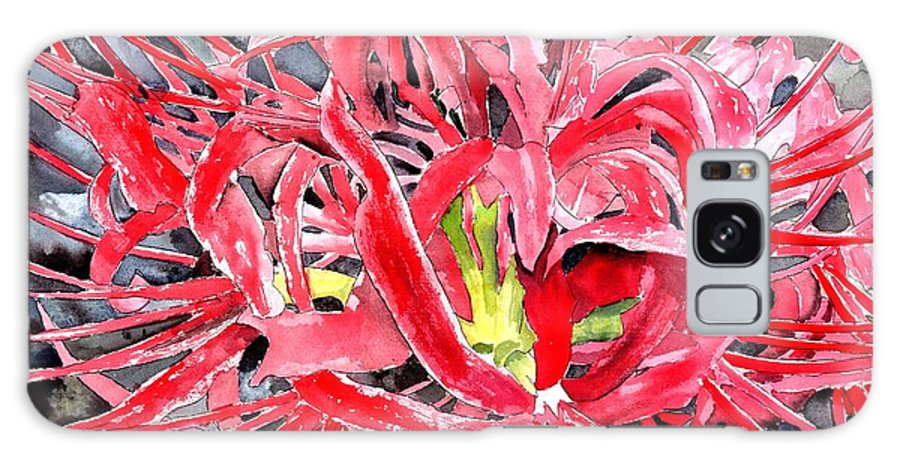 Watercolor Galaxy Case featuring the painting Red Spider Lily Flower Painting by Derek Mccrea