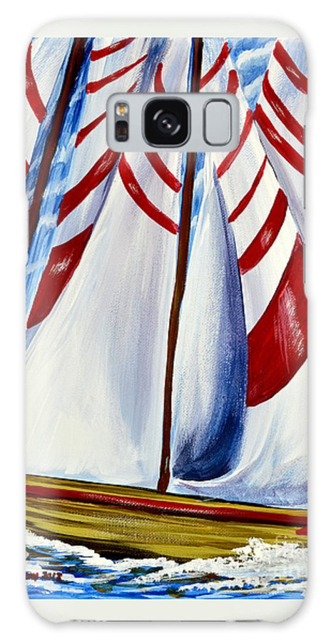 Sailboats Galaxy S8 Case featuring the painting Red Stripe Sails by Patricia L Davidson