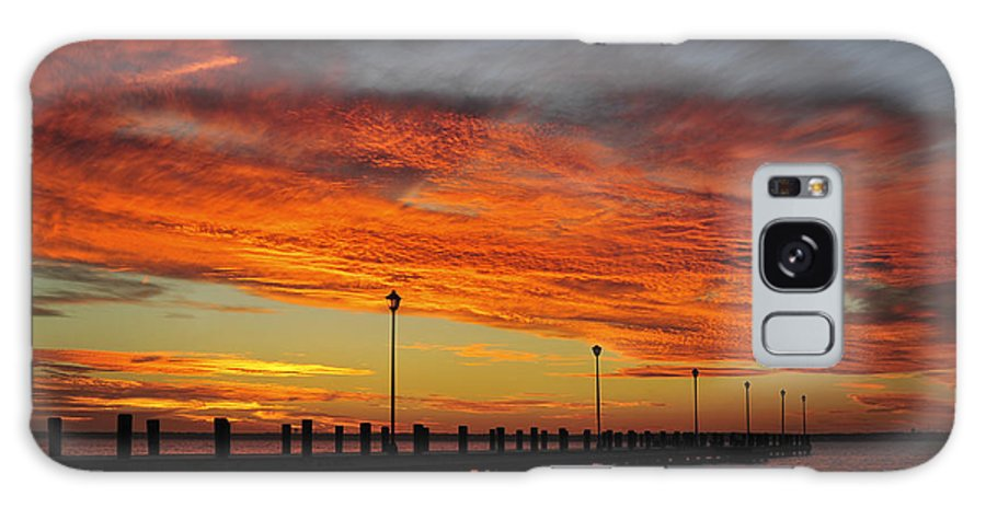 Red Sky Galaxy S8 Case featuring the photograph Red Sunset Pier Seaside Nj by Terry DeLuco