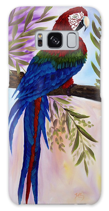 Oil Galaxy S8 Case featuring the painting Red Tail Macaw by Kathy Przepadlo