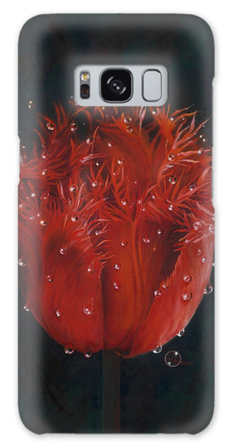 Red Tulip Galaxy S8 Case featuring the painting Red Tulip by Lynette Yencho