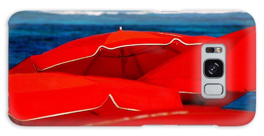 Umbrellas Galaxy S8 Case featuring the photograph Red Umbrellas by Karen Wiles