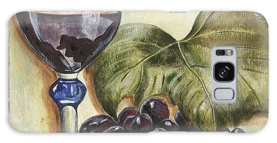 Wine Galaxy Case featuring the painting Red Wine And Grape Leaf by Debbie DeWitt