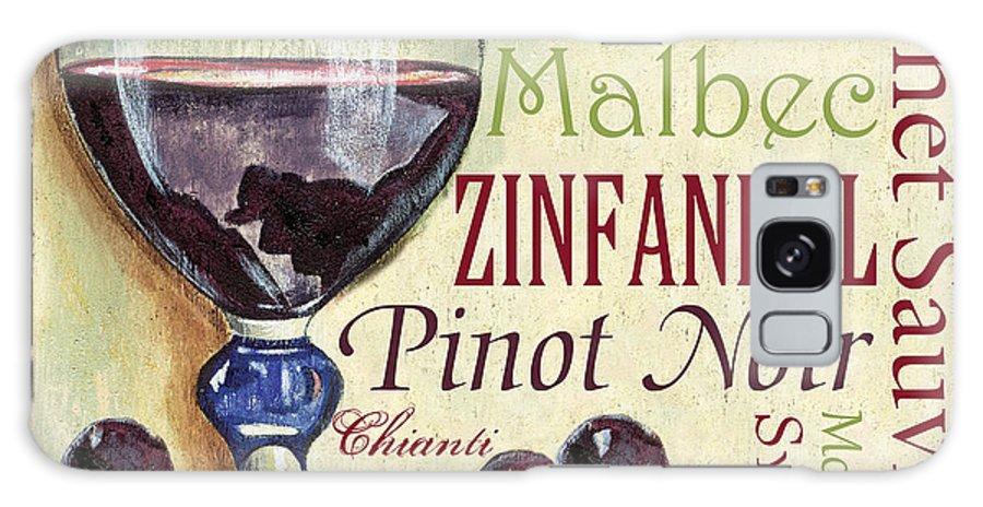 Wine Galaxy S8 Case featuring the painting Red Wine Text by Debbie DeWitt