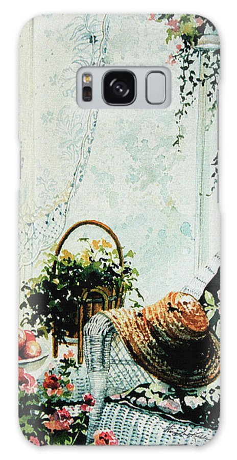 Garden Room Still Life Galaxy S8 Case featuring the painting Rest From Garden Chores by Hanne Lore Koehler