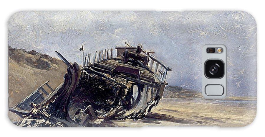 Carlos De Haes Galaxy S8 Case featuring the painting Rest Of A Shipwreck by Carlos de Haes