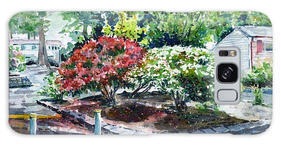Rhododendrons Galaxy S8 Case featuring the painting Rhododendrons In The Yard by Zaira Dzhaubaeva