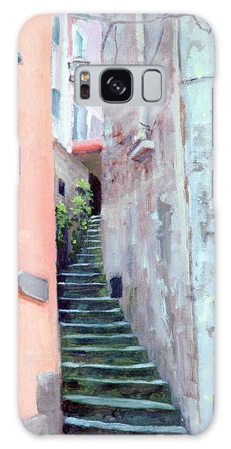 Riomaggiore Galaxy S8 Case featuring the painting Riomaggiore by Armand Cabrera