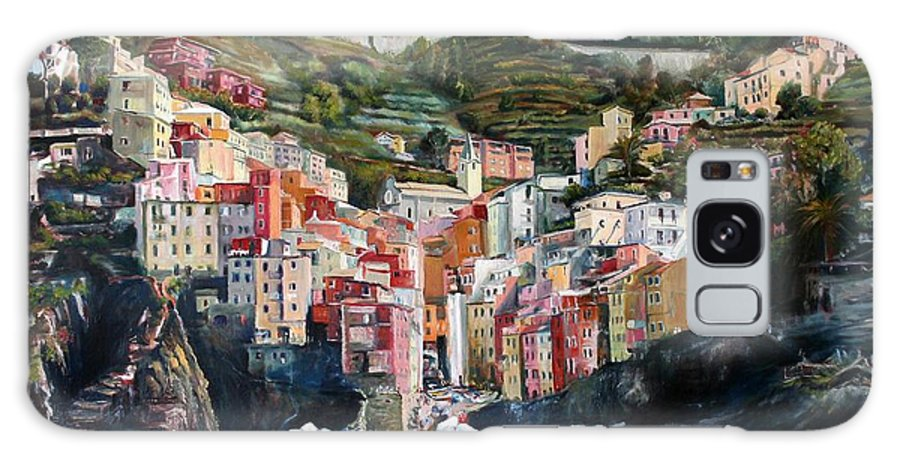 Cinque Terre Galaxy S8 Case featuring the painting Riomaggiore Glory- Cinque Terre by Jennifer Lycke