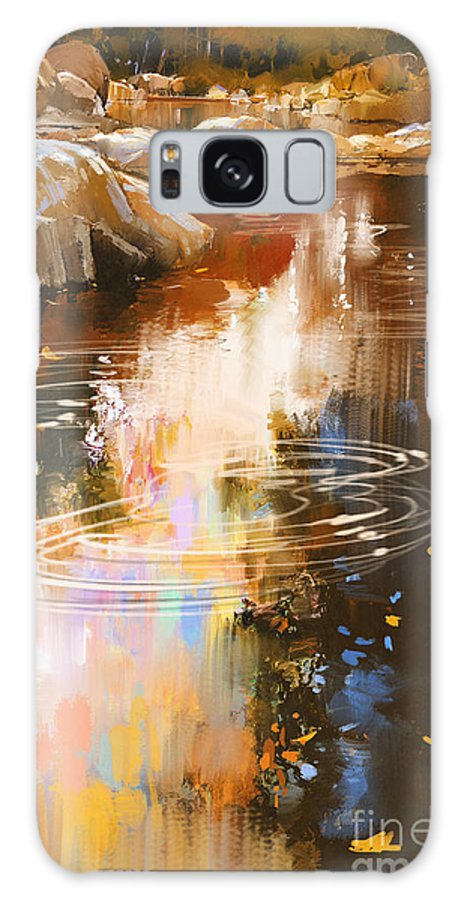 Art Galaxy Case featuring the digital art River Lines With Stones In Autumn by Tithi Luadthong