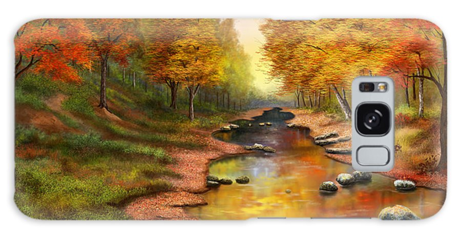Autumn Landscapes Galaxy S8 Case featuring the painting River Of Colors by Sena Wilson