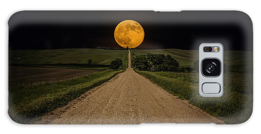 Road To Nowhere Galaxy S8 Case featuring the photograph Road To Nowhere - Supermoon by Aaron J Groen