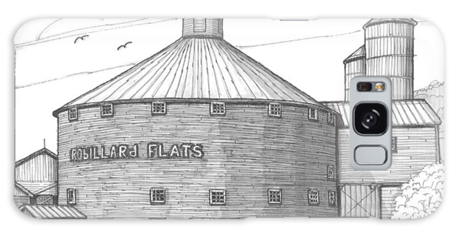 Robillard Flats Galaxy S8 Case featuring the drawing Robillard Flats Round Barn by Richard Wambach