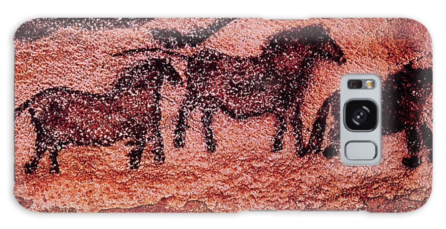 Prehistoric Galaxy S8 Case featuring the photograph Rock Painting Of Tarpans Ponies, C.17000 Bc Cave Painting by Prehistoric