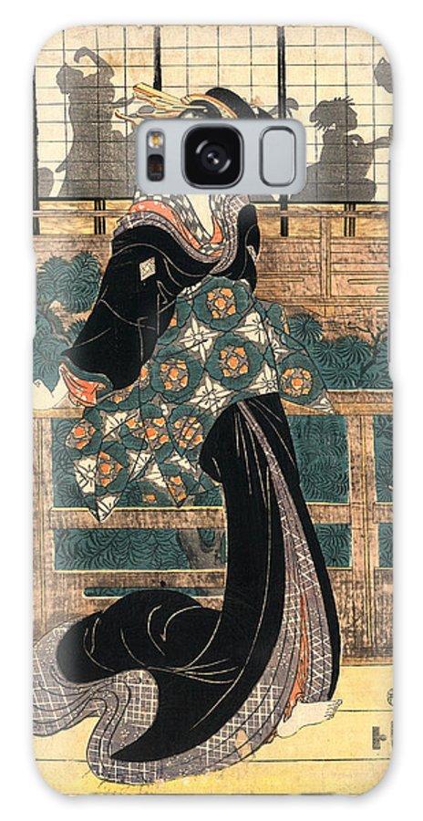 1787-1867 Galaxy S8 Case featuring the drawing Roka No Geigi, Entertainer Standing On A Veranda by Kikukawa, Eizan (1787-1867), Japanese