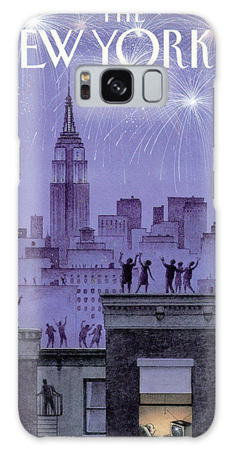 Harry Bliss Hbl Galaxy S8 Case featuring the painting Rooftop Revelers Celebrate New Year's Eve by Harry Bliss